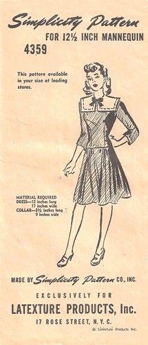 "Simplicity 4359 Pilgrim Collar Dress for 12 1/2"" Mannequin Doll 1940's"