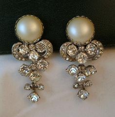 Signed Weiss Faux Mabe Pearl and Rhinestone Dangle Earrings