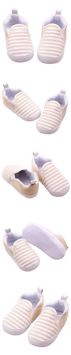 Amiley Toddler Infant Baby Boy Girl Stripe Sneaker Prewalker Soft Crib Shoes (Size 13 (US:4---12~18 Month), Khaki)