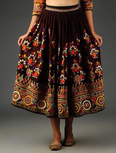 Buy Wine Multicolor Vintage Embroidered Skirt from Kutch Cotton Art Finds Craft Culture Textiles & Woolen Wall Hangings Online at Jaypore.com