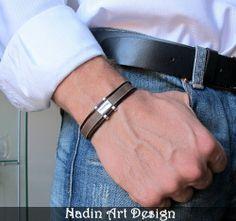 Leder Herrenarmband. Einstellbares Armreif von NadinArtDesign auf DaWanda.com