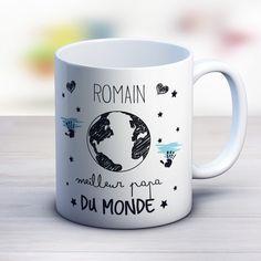 Mug cadeau personnalisé pour le meilleurs des papas du monde. Création le monde de Bibou