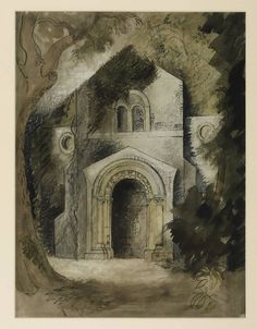 John Piper (1903‑1992).  The Dairy, Fawley Court,  1940,  Watercolour and ink on paper, 527 x 400 mm Collection Tate.