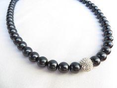 Black Pearl Crystal Rhinestone Necklace Bling 23 by RitzyandGlitzy, $22.00