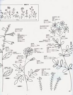 Japanese book and handicrafts - Herb Embroidery on Linen Vol 2 Herb Embroidery, Brazilian Embroidery Stitches, Japanese Embroidery, Embroidery Needles, Silk Ribbon Embroidery, Hand Embroidery Patterns, Vintage Embroidery, Embroidery Applique, Embroidery Designs