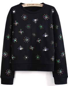 Black Long Sleeve Bead Crop Sweatshirt - Sheinside.com
