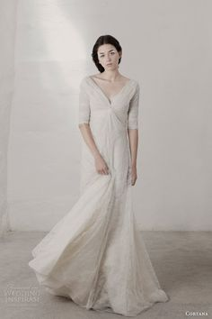 cortana bridal 2015 claudia lace wedding dress with sleeves front view - so fresh and pretty!