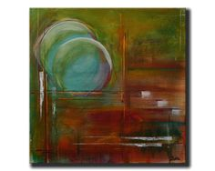"Turquoise & Amber Original Abstract Painting 20"" x 20"" Amber by Victor Boba $165"