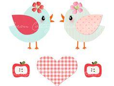 7 Zuckersüße Bügelbilder mit kleinen Vögeln, Äpfeln und einem Herz.  Nur für helle Stoffe geeignet.  Größe je Vogel: etwa 8cm x 9cm Größe je A...