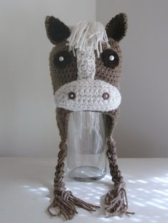 Crochet Horse Beanie Earflap Hat. $25, via Etsy.