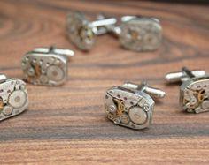 Groomsman Cufflinks 3 SETS Groom and Best Man Cuff Links wedding party gift Cufflinks Steampunk jewellery watch movements vintage clockwork