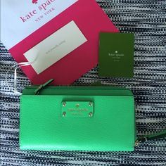 "❤️Kate Spade Big Wallet/ Wristlet NWT Authentic Kate Spade wallet/clutch. Beautiful green color ""budgreen"". MRSP: $145. Material is leather.                                                                 ✅Very spacious                                                     ✖️no trade✖️ kate spade Bags Wallets"