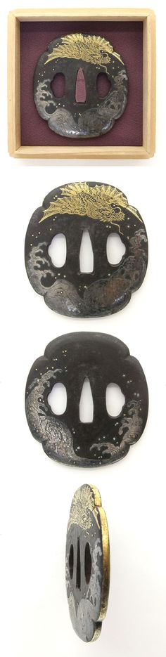 Mokko shape iron Tsuba, wave and dragon with gold and silver cloth inlay.