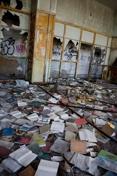 The abandoned Detroit Public Schools Book Depository, Detroit, Michigan, USA