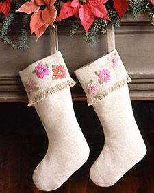Not sure how I feel about the poinsettias, but looks like an easy and nice way to make us all some stockings
