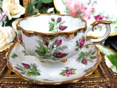 panese teacup and saucer set | Japanese Floral Tea Cup and Saucer Moss Rose Pattern Teacup 3 Footed