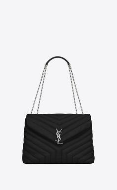 medium loulou bag in black