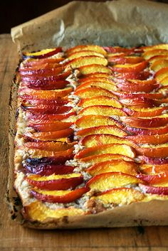 Peach Frangipane Tart  There is nothing I don't love about a summer fruit galette: the sugared and golden crust, crisp and flaky throughout; the delicate ratio of fruit to pastry; the rustic look of dough enveloping fruit.