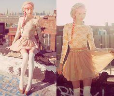 Lace bodysuit, skirt, knit beanie