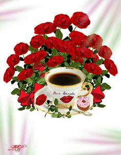 Morning Greeting, Good Morning, Tableware, Cards, Night, Flower Arrangements, Coffee Time, Pretty Images, Love Quotes