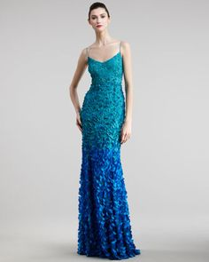 Petal Ombre Gown by Theia at Neiman Marcus.