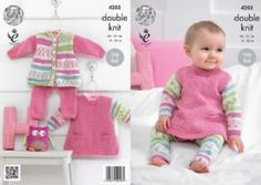 King Cole Baby Girl Knitting Pattern For Tunic, Cardigan & Leggins - 4203 Easy Knitting, Double Knitting, Knitting Yarn, Baby Knitting Patterns, Crochet Patterns, Toddler Sweater, Crochet Supplies, King Cole, Tunic Pattern