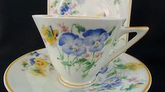 Antique Royal Doulton Blue Yellow Pansy Art Deco Bone China Tea cup Trio