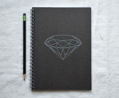 Faceted Diamond Notebook - Embroidery Gem. $12.00, via Etsy.