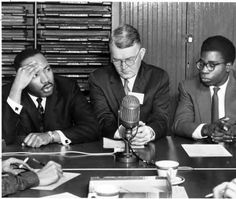 Martin Luther King Jr in press conference at 18th Ecumenical Student Conference, 1959-1960 :: Ohio University Archives