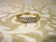 Vintage 14K Diamond Engagement Wedding Band by charmingellie, $142.00