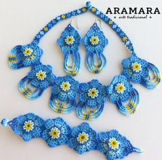 Mexican Huichol Beaded Necklace Bracelet and Earrings by Aramara