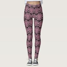 Black and Pink blooming Lace Leggings - lace gifts style diy unique special ideas