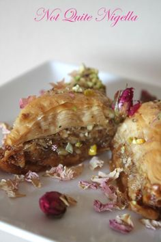 Rose and pistachio baklava recipe by Not Quite Nigella - made this using orange blossom water in the syrup instead, very tasty and also very simple.