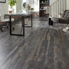 Home Decorators Collection EIR Smokewood Fusion 12 mm Thick x 6-1/16 in. Wide x 50-2/3 in. Length Laminate Flooring (17.07 sq. ft. / case)-HDCWR07 - The Home Depot Wood Laminate, Laminate Flooring, Slate Flooring, Hardwood Floors, Flooring Ideas, Downtown Lofts, Grey Floor Tiles, Radiant Heat, New House Plans