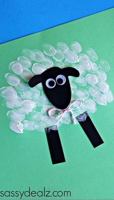 Fingerprint Sheep Craft for Kids #Easter craft for kids #Lamb | http://CraftyMorning.com