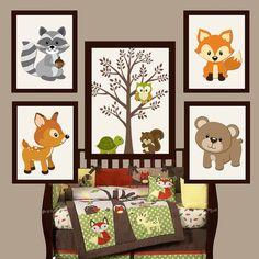 WOODLAND Nursery Wall Art, Forest Friends, Woodland Tree, Forest Animals, Deer Squirrel Bear FOX Canvas or Prints Set of 5 Wood Land Decor