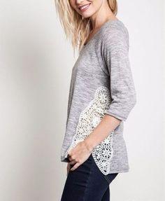 LOVE-STRUCK-Dakota-Viola-Lace-Sides-Gray-Tunic-Top-Crochet-Pullover-LOLA-Trapeze