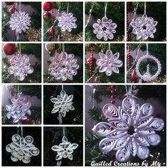Quilled snowflakes - by: Tatiana Gajdosova Quilled Creations - To see them up close, go to her site on Pinterest - www.pinterest.com/tatianagajdos/quilled-christmas-decorations/