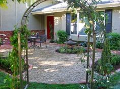gravel patio with planter beds