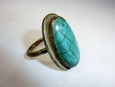 Großer Ring mit türkisem Stein Vintage Tribalring von neemaheTribal