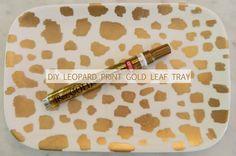 diy leopard like print gold leaf tray