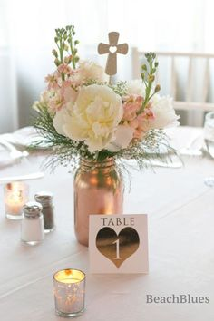 9 Girl First Communion Party Favors and Party Ideas - Partymazing Communion Party Favors, Communion Centerpieces, Wedding Centerpieces Mason Jars, First Communion Party, First Holy Communion, Christening Centerpieces, Baptism Party Favors, Rose Gold Centerpiece, Christening Party