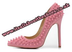 'Out With Stud'  Spiked Leather Stilettos with Red Sole in Pink, White, Black and Raspberry £59.99