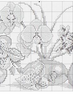 Borduurpatroon Bloemen - Planten *Cross Stitch Flowers - Plants  ~Orchidee in vaasjes 3/5~