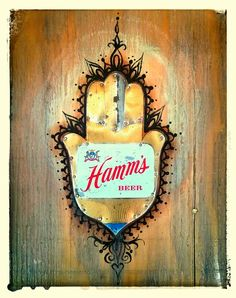Hammsa: Protector of sky blue waters Apparently, few people realize that the iconic palm-shaped amulet, popular throughout the Middle. Hamms Beer, Day Of The Dead, Mixed Media Art, Objects, Christmas Ornaments, Holiday Decor, Collage, Painting, Inspiration