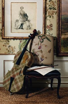 Without the cello. Ralph Lauren Home's dreamy floral fabric in a plaid fabric that hits all the right notes.