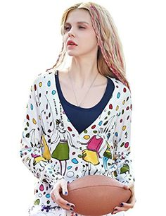 Womens Spring Funny Printed Short Cardigan White
