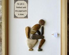 Pebble Art - Custom Gift - Housewarming Gift - Rude art - Funny art - Thinker on the toilet with funny bathroom quotes -