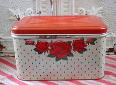 Vintage, red, roses, polka dots for kitchen... meets collectible criteria