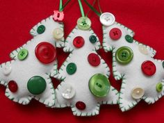 felt button tree christmas ornaments